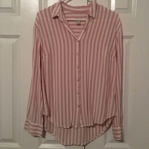 a new day Pink Striped Longsleeve Button Down